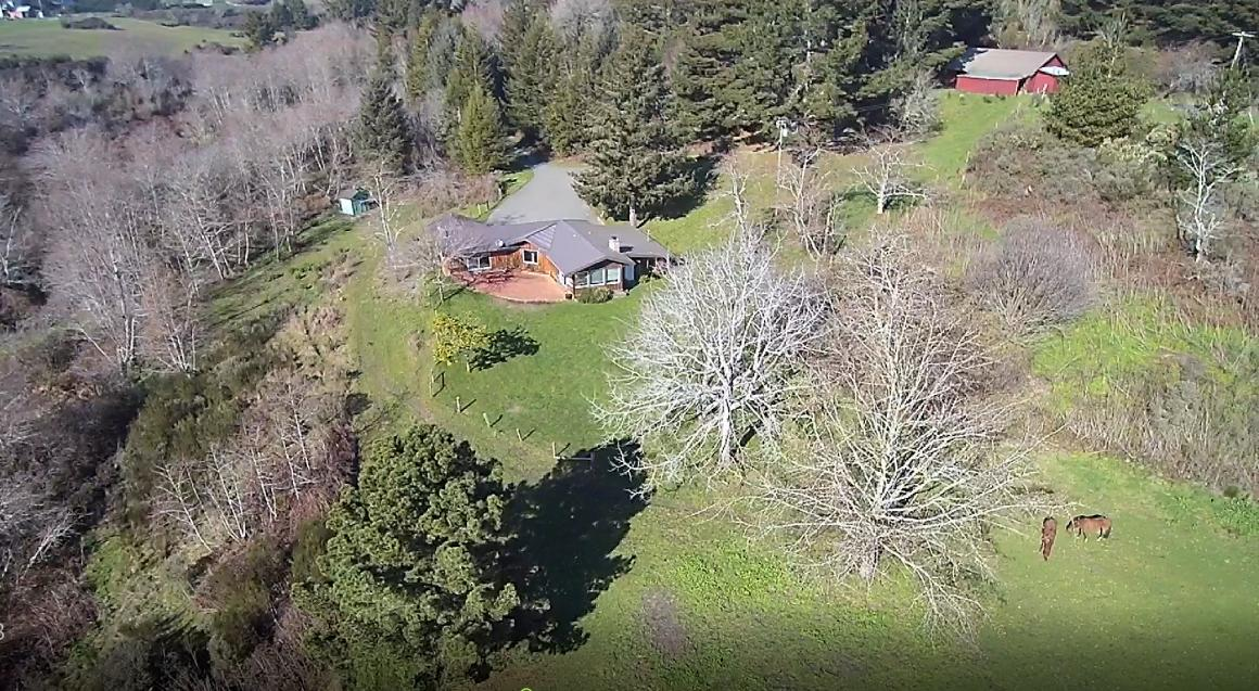 Aerial with house, garage and horses