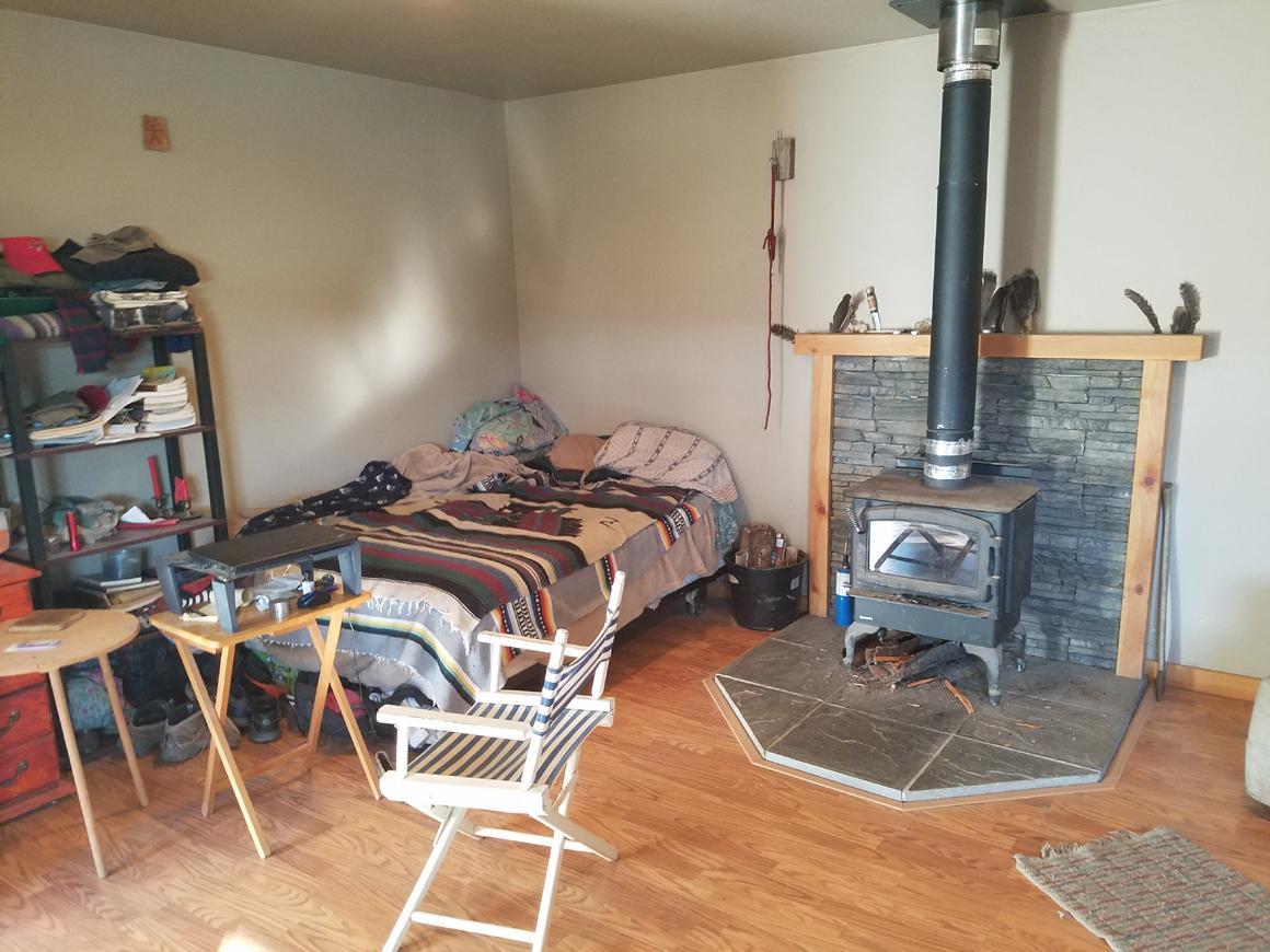 Studio space with woodstove