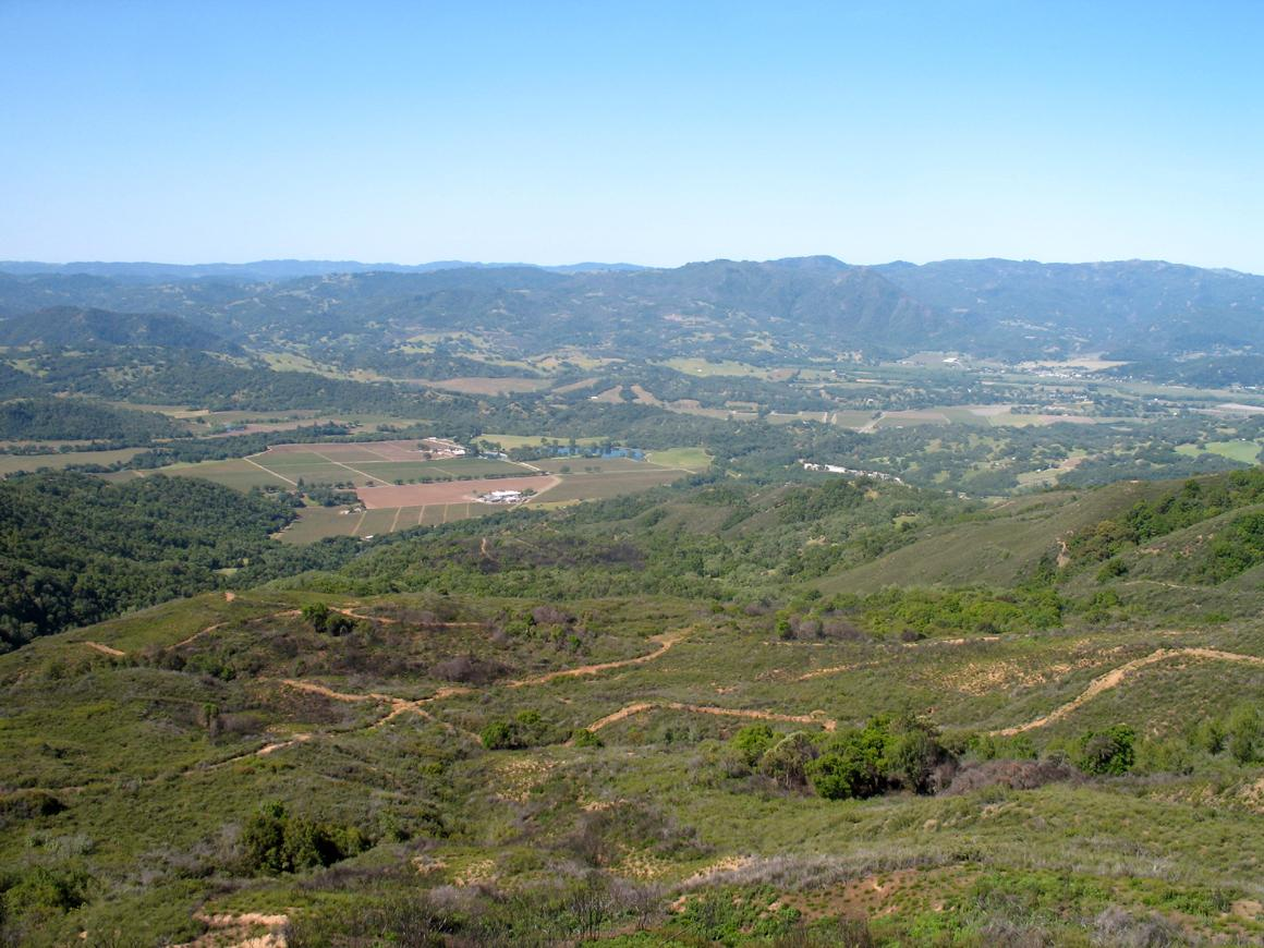 Aerial view toward the valley