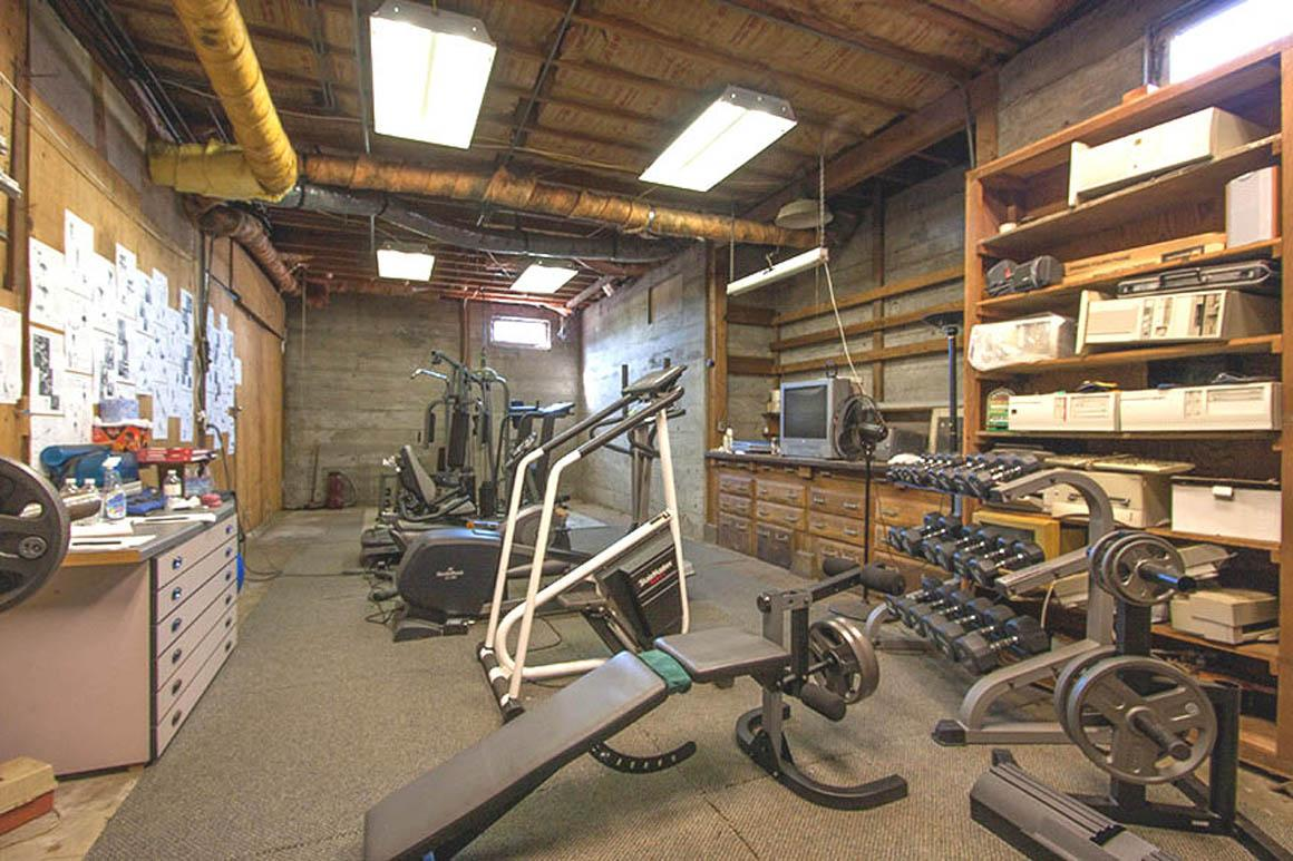 Large shop area currently utilized for exercise equipment