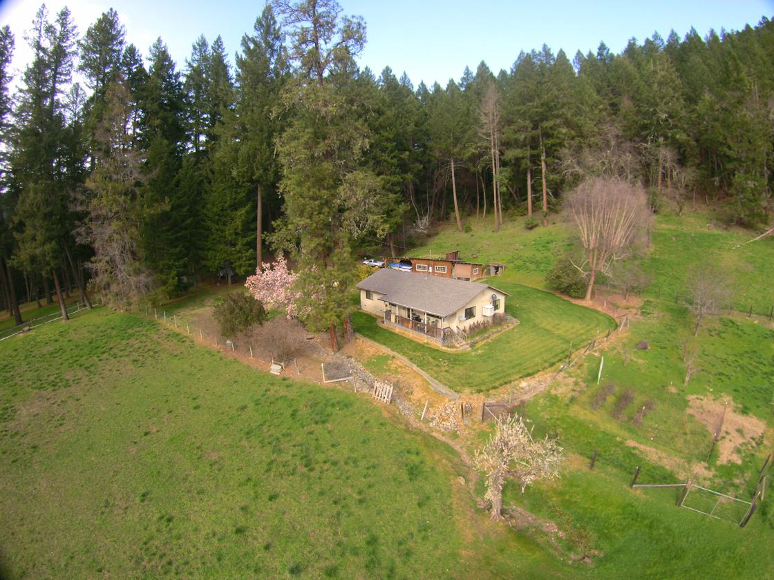 Aerial of the home and outbuildings