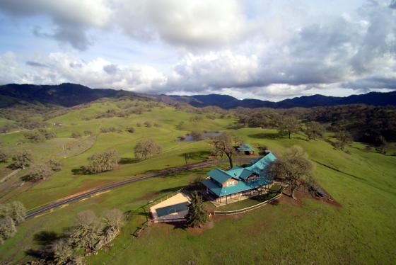 Aerial view from home to hills